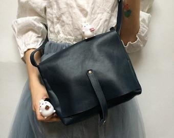 Women's Leather Messenger Bag, Shoulder Leather Bag, Navy Blue Leather Bag, Small Messenger Bag, Small Leather Bag, Blue Bag, Shoulder Bag