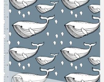 Elvelyckan Design Blue Whale - Organic Cotton JERSEY (per 0.25m)
