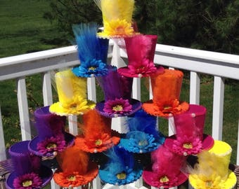 "15 Mad Hatter Felt Tea Party Hats in Bright Colors - Alice in Wonderland Decorations, Prop, Birthday, Baby Shower, Bridal Shower (3.5"" Tall)"