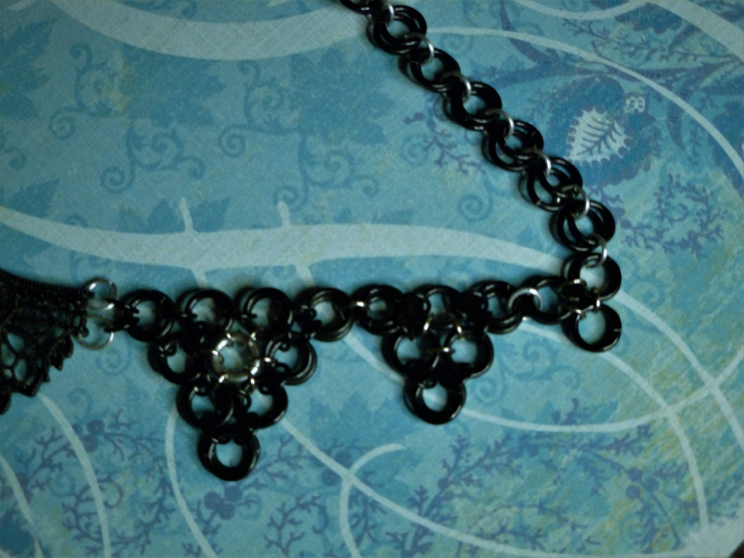 Cameo Necklace with Chainmail Accent Steampunk Inspired Style 20 Inches in length