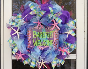 Barefeet Welcome Deco Mesh Wreath