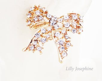 Crystal Bow Stud Earrings, Sparkly Gold Bow Earrings, Rhinestone Stud Earrings, Crystal Stud Earrings, Bow Earrings, Bow Jewellery