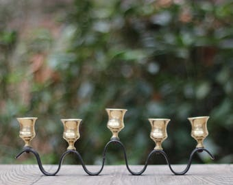 Mid-Century Black Iron and Brass Serpentine Candelabra / Five Branch Menorah / Serpentine Iron Candelabra / Serpentine Brass Candelabra