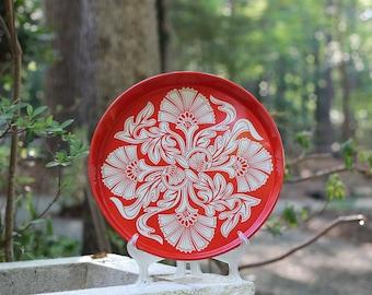 Vintage Red Tiki Tray / Red Tin Tiki Tray / Mod Red Tray / Round Red Tray / Tiki Party Tray / Tiki Bar Tray / Tiki Decor / Tomato-Red Tray
