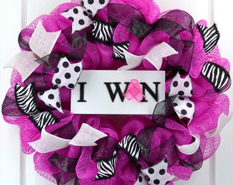 Breast Cancer wreath - Breast Cancer Awareness - Breast Cancer survivor present - Cancer survivor gift - I Won wreath - Pink survivor decor