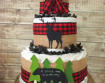 A Little Man is on his way diaper cake in buffalo check, Lumberjack Baby Shower Centerpiece