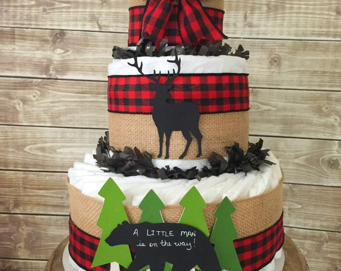 Featured listing image: A Little Man is on his way diaper cake in buffalo check, Lumberjack Baby Shower Centerpiece