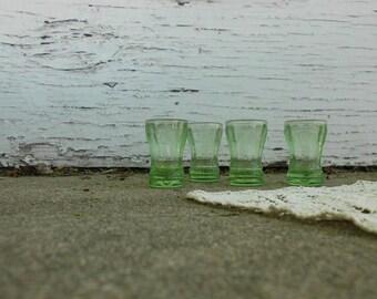 Antique Green Vaseline Glass Shot Glass Set