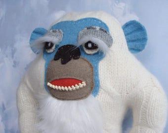 Stuffed YETI, Stuffed Toy, UPCYCLED Wool Yeti, Snow Monster, Yeti TOY PlushMonster Doll, Giant Yeti, Monster Plush, Abominable Snowman