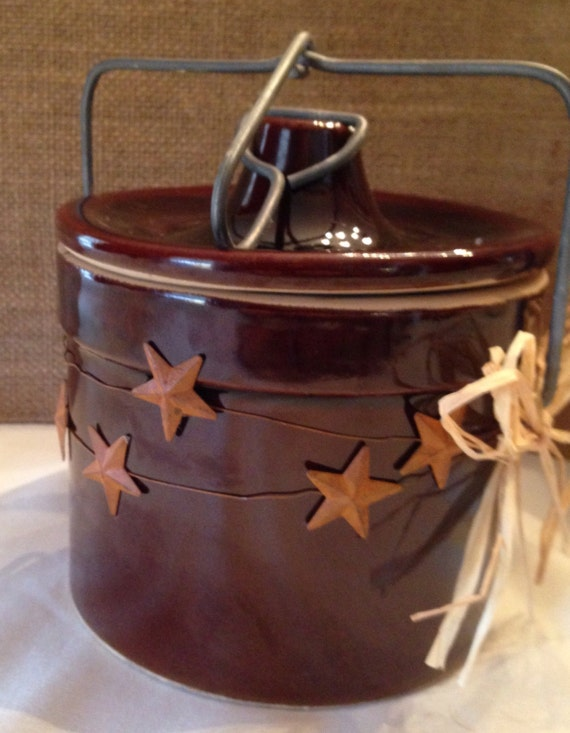 Extra Large Crock Christmas Candle with Wood Wick