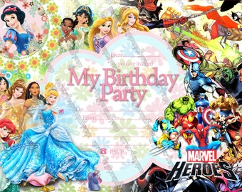 Princess & Superheroes - Party Invitations instant download