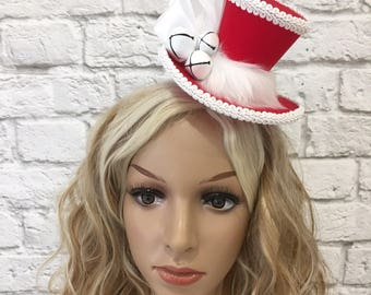 Christmas Mini Top Hat, Festive Mini Top Hat, Red & White Mini Top Hat, Jingle Bells Mini Top Hat