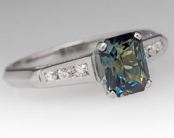 Sapphire Engagement Ring - 1.3 Carat Radiant Cut Teal Blue Green No Heat Sapphire - 1950's Vintage Platinum Engagement Ring - WM11995