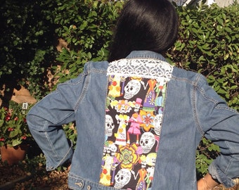 John decore vintage fabric Jacket Mexican skeletons skulls and old embroidery