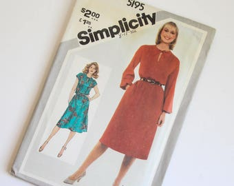 SIZE 12 5195 Simplicity Women's Dress UNCUT Sewing Pattern Vintage 1980s Eighties Dressy Pullover Slash Opening Tie Gathered Sleeves Jiffy