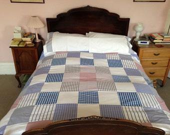 Patchwork King Size Duvet Cover and Matching Pillow Cases made out of Recycled Cotton Shirts