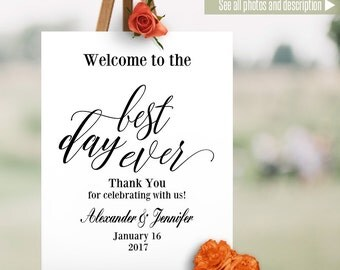 Welcome sign, printable wedding template, Wedding welcome sign, black and white, instant download Self Editable PDF file BW119
