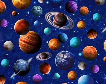 Planets, Stars, Space, Royal Blue, Across the Universe, Deborah Edwards, Northcott (By 1/2 yard)