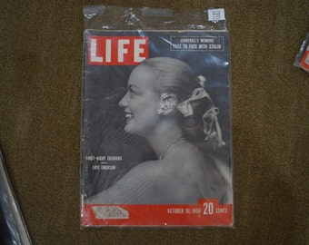 LIFE Magazine-Oct. 30, 1950 First-Night Fashions-Faye Emerson-Churchill's Memoirs-Face to Face With Stalin