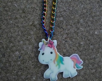 Unicorn/Pegasus Necklace. Rainbow chain