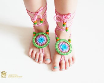Crochet Barefoot Sandals Beach Shoes Foot Jewelry.Crochet Barefoot Sandals for Kids.Kids Barefoot Sandals, Kids Anklet,Kids Sandals