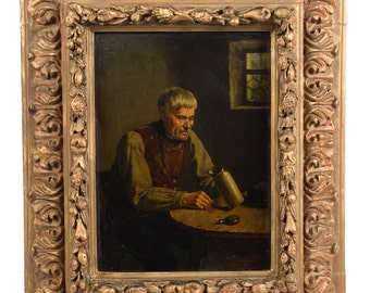 19th century Dutch Oil Painting depicting a Silversmith c.1860s