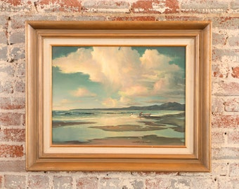 Russell Moreton -Morning California Seascape - Original Oil Painting -Signed