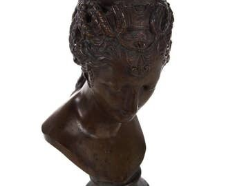 19th century Bronze Bust of Female Goddess