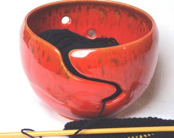 Yarn Bowl Wool Bowl in Red  Mottle Glaze