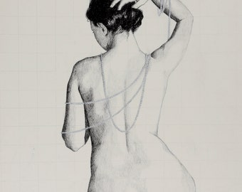 "Fine art print*, charcoal drawing on antique paper; nude woman's back, draped in pearls; ""Colette"""