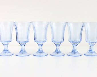 Blue  Drinking Glasses, Set Of 6, By Indiana Glass Recollection Blue. Dessert Cup. Etched Water Goblets. Everyday Glassware