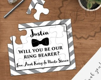 Will you be my ring bearer - elegant bow tie puzzle invitation card, ask ring bearer or page boy, be my ring bearer puzzle
