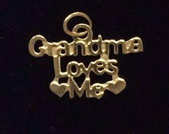 "14K Yellow Gold Small Baby Child ""Grandma Loves Me"" CHARM Pendant"