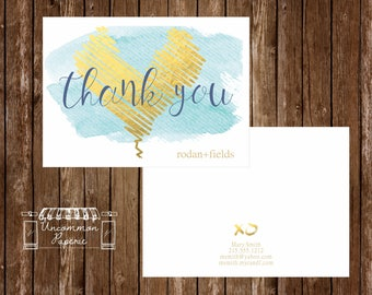 Aqua 'Gold Foil' Thank You Cards   Rodan +  Fields