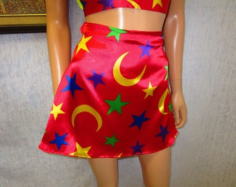 "90s 25"" Deadstock Mini Skirt Red Satin Stars & Moons Print WeirdoWear"