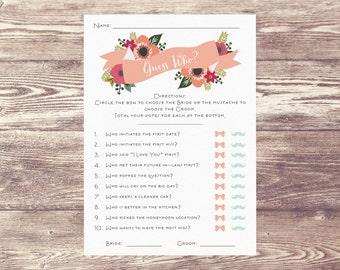 Guess Who? Digital Download, Downloadable File Bride versus Groom, Bride v. Groom, Bridal Shower Game, Wedding Shower Game