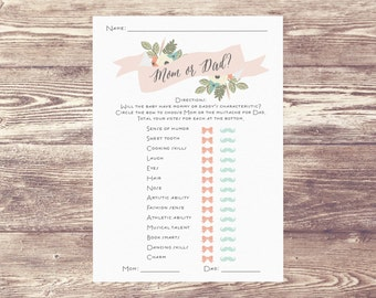 Mom Or Dad Digital Download, Downloadable File Mom or Dad, Will baby have mom or dad's?, Baby Shower Game, Baby Sprinkle Game