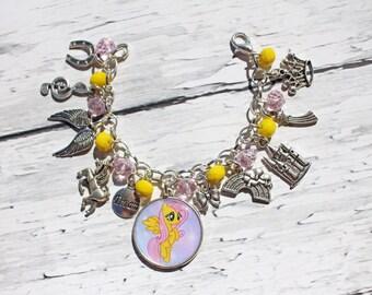 My Little Pony Fluttershy Inspired Charm Bracelet