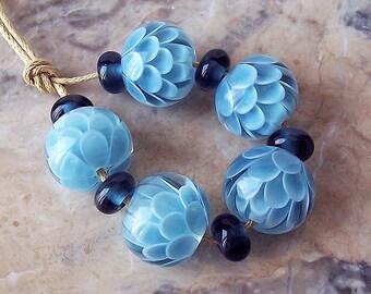 Blue Grey Chrysanthemum Lampwork Bead Set. Blue Lotus Lampwork. Flower Petals Lampwork Beads. Flower Blossom Lampwork. Made to order.