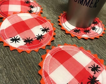 Set of 4 Handmade Summer Ant Picnic Coasters Great Mothers Day Gift
