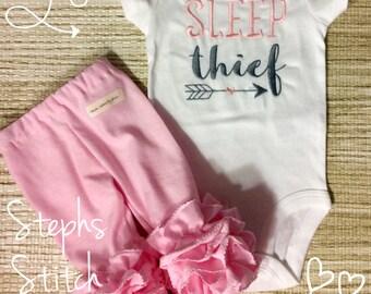 SleepThief Onesie and Ruffled Leggings