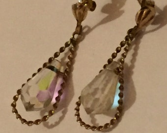 Vintage 9ct Gold Faceted Aurora Borealis Crystal Drop Earrings