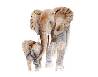 Baby Animal Art - Elephant Nursery Art - Safari Nursery - Elephant Nursery - Nursery Art - Elephant Art - Baby Room - Animal Art