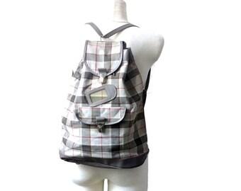70s Vintage Backpack / Canvas Backpack / Plaid Backpack