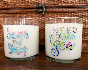 I Need Vitmain Sea or Seas the Day Beach-themed Scented 10oz. Candle-Handmade Soy Candle in Glass Jar-Choose from Magolia, Gardenia or Lemon