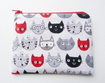 Cat coin purse, wallet, travel wallet, cat change purse, zipped pouch, earphone case, cat purse, cat wallet, zipper pouch, coin purse