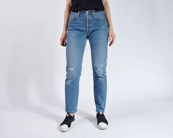 90s Levi's 536 Skinny Straight Frayed Raw Cut Distressed Denim Street Style Jeans / Size W31 L32