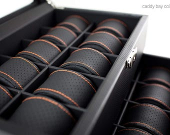 Personalized Carbon Fiber Design Watch Box with Orange Pillows - Holds 20, Men's Gift, Groomsmen Gift, Anniversary Gift, Christmas Gift