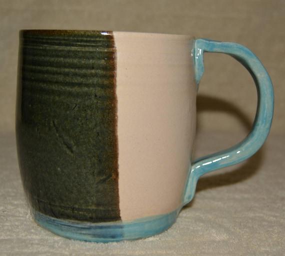 Mug, 24 OZ Coffee Mug, Tea Mug, Cocoa Mug, Cup, Stoneware, Ceramic, Kitchen, Sky Blue,  Dark Green, Off White