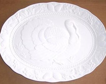 Vintage Thanksgiving Porcelain White Turkey Embossed Platter Embossed - Made In Japan